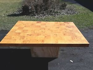 Roche Bobois olive,elm burl,marble base,patchwork dining table