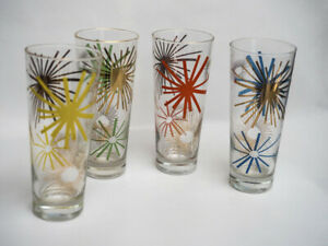 Four Vintage Russel Wright Asterisk Highball Glasses