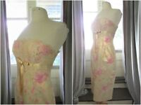 David Meister Shimmering Gold Strapless Dress*6*S-M*Romantic Lace Floral*Be Mine