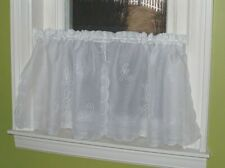 Swiss Tambour Lace Curtains - White