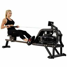 Sunny Health & Fitness Water Rowing Machine Rower w/LCD Monitor - Obsidian SF-RW