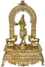 "JAI Krishna Fluting Cow On Arch God Statue 26""Vintage Bronze Hindu Figure 23.2KG"