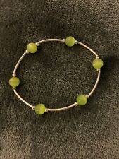 Silver And Green Bead Stretch Bracelet