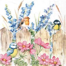 4 lose Lunch Servietten Napkins Vögel Blumen Gartenzaun Shabby