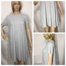 Zara Grey Ribbed Knit Short Sleeves Mini Dress Size M