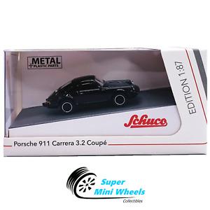Schuco 1:87 HO Scale - Porsche 911 Carrera 3.2 Coupe (Black) - Diecast Model Car