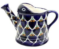 Handmade Mexican Pottery Watering Can Pitcher Hand Painted Signed