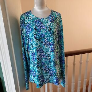 Lands' End Women's XS(2-4) Long Sleeve Rash Guard Swim Shirt Teal Blue  10-x