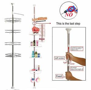NO RUST BATHROOM TELESCOPIC CORNER SHELF STORAGE 4TIER SHOWER CADDY 100CM-300CM