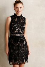 Yoana Baraschi Overture Black Lace Dress Sleeveless Textured Zip Print Size 6