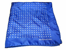 Ralph Lauren Light Blue Polo Silk Handkerchief White Polka Dot Pocket Square