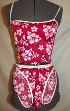 Wild Wahine Hawaiian red floral Bikini swimsuit  set  Small