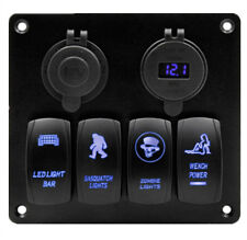 4 GANG Rocker Switch Panel Circuit Breaker LED Voltmeter RV Car Marine Boat 12V