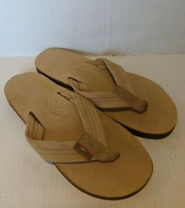 Rainbow Platform Flip Flops No Size Tan Leather Thongs Sandals READ BELOW!