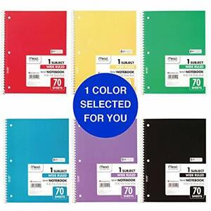 """Mead Spiral Notebook 1 Subject Wide Ruled Paper 70 Sheet 10-1/2"""" x 7-1/2"""""""