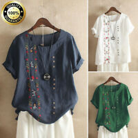 Women Boho Summer Embroidered T Shirt Cotton Linen Short Sleeves Tops Blouse Tee