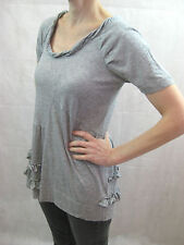 Marc By Marc Jacobs Size XS or 8 Grey Jersey Ruffle T-Shirt