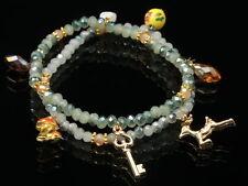 natural shell AB Faceted green Crystal gemstone charms deer elastic bracelet B27