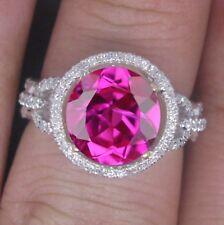 14KT White Gold 1.70 Carat Natural Pink Tourmaline EGL Certified Diamond Ring