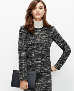 Ann Taylor - Size 2 Black Leather Trim Tweed Jacket (SUITING) $179.00 NWT (H)