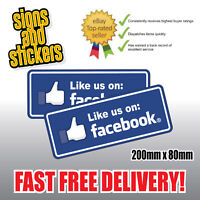 "2x STICKERS ""like us"" on Facebook Social Network Business shop media advertising"