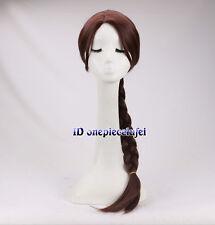 Lara 70cm de largo cabello trenzado Marrón Cosplay Peluca + un casquillo de la peluca