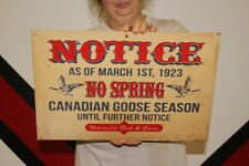 "Vintage 1950's No Canadian Goose Hunting Gas Oil Gun Shotgun Duck 18"" Metal Sign"
