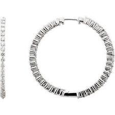 2.00 CTW diamante interno / FUORI Orecchini a cerchio in 14k oro bianco