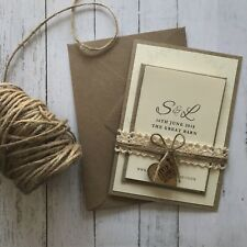 Rustic Shabby Chic Wedding Invitations. Wedding Stationery, With Rsvp