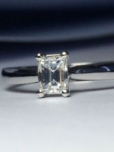 Emerald cut DIAMOND engagement 18ct White Gold RING Valuation $2860.00