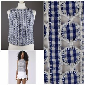 Topshop Blue White Gingham Cropped Cutwork Shell Top UK 8 Zip Holiday Festival