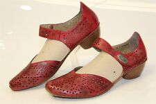 Rieker Antistress Womens 40 9 Red Leather Ankle Strap Heels Shoes zhf
