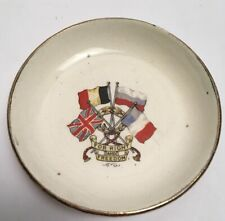 More details for antique for right and freedom world war dish flags crest
