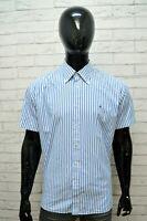 TOMMY HILFIGER Uomo Camicia Taglia XL Maglia Camicetta Shirt Men Hemd Righe Blu