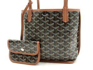 GOYARD ANJOU MINI Reversible Tote Hand Bag Pouch PVC Canvas Leather Brown V-6904