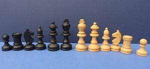 Vintage Ebonised Boxwood Staunton Chess Set 1960s in Wooden Box 5.5cm King