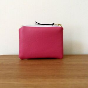 Coin Purse Bag Faux Leather Pink Handmade Fabric Small Pouch Card Holder Soft