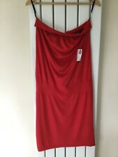WAREHOUSE LADIES STRAPLESS SOFT RED SUN DRESS SIZE 12 BNWT