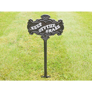 Cast iron Please Keep Off The Grass Sign With Stake