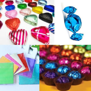 100Pcs Square Aluminum Foil Wrapping Candy Party Gift DIY Craft Package Papers