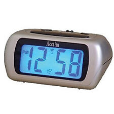 Acctim Auric 12340 Silver LCD Alarm Clock With Snooze