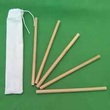 Bamboo Straws 5 x 15cm Handmade and Reusable with Carry Pouch UK Seller