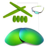 Walleva Emeraldine Polarized lenses w earsocks T-shocks for Oakley X-Metal-XX