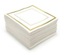 GLAM Cocktail Napkins Gold Trim, 100 Pack - 5x5 Inches Wedding Napkins, Paper