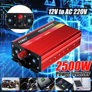 2500W Peak Car Power Inverter DC 12V to AC 220V Modified Sine Wave USB Converter