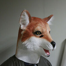 Adult Funny Deluxe Fox Animal Full Overhead Latex Costume Mask Halloween Gifts