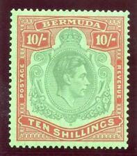 Bermuda 1939 KGVI 10s bluish green & deep red/green MLH. SG 119a. Sc 126b