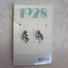 1 pair of 1928 earrings- Gun metal tiny hoops with diamantes