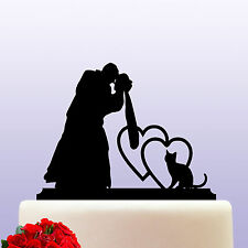 Acrylic Bride & Groom And Cat Acrylic Wedding Cake Topper Decoration & Keepsake