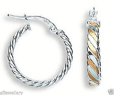 9CT HALLMARKED WHITE & ROSE GOLD 19MM ROUND TWIST POLISHED HOOP EARRINGS